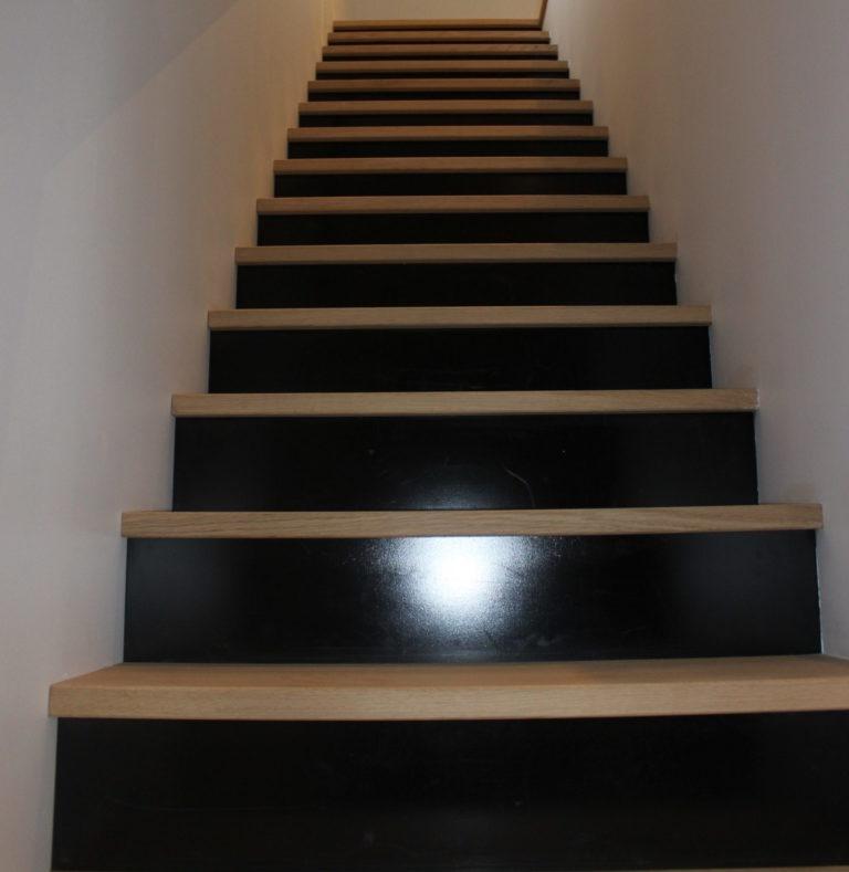 escalier en chene avec contre marche métal laquée